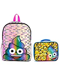 Emoji Rainbow Poo Print 16 Backpack and Insulated Lunchbox Set