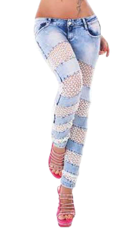 Alisa.Sonya Women's Plus-Size Lower Waist Contrast Lace Tape Pencil Jeans