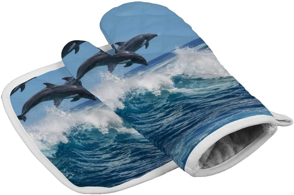 Ocean Sea Animal Jump Dolphin Oven Mitts,Professional Heat Resistant Microwave BBQ Oven Insulation Thickening Cotton Gloves Baking Pot Mitts with Soft Inner Lining