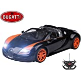 Bugatti Veyron Remote Control Car – Working Lights –Electric Radio Controlled Bugatti Veyron 16.4 Grand Sport Vitesse RC Car – PL9365 Official Licensed 1:14 Model – 40/27Mhz RTR, EP (Colour May Vary)