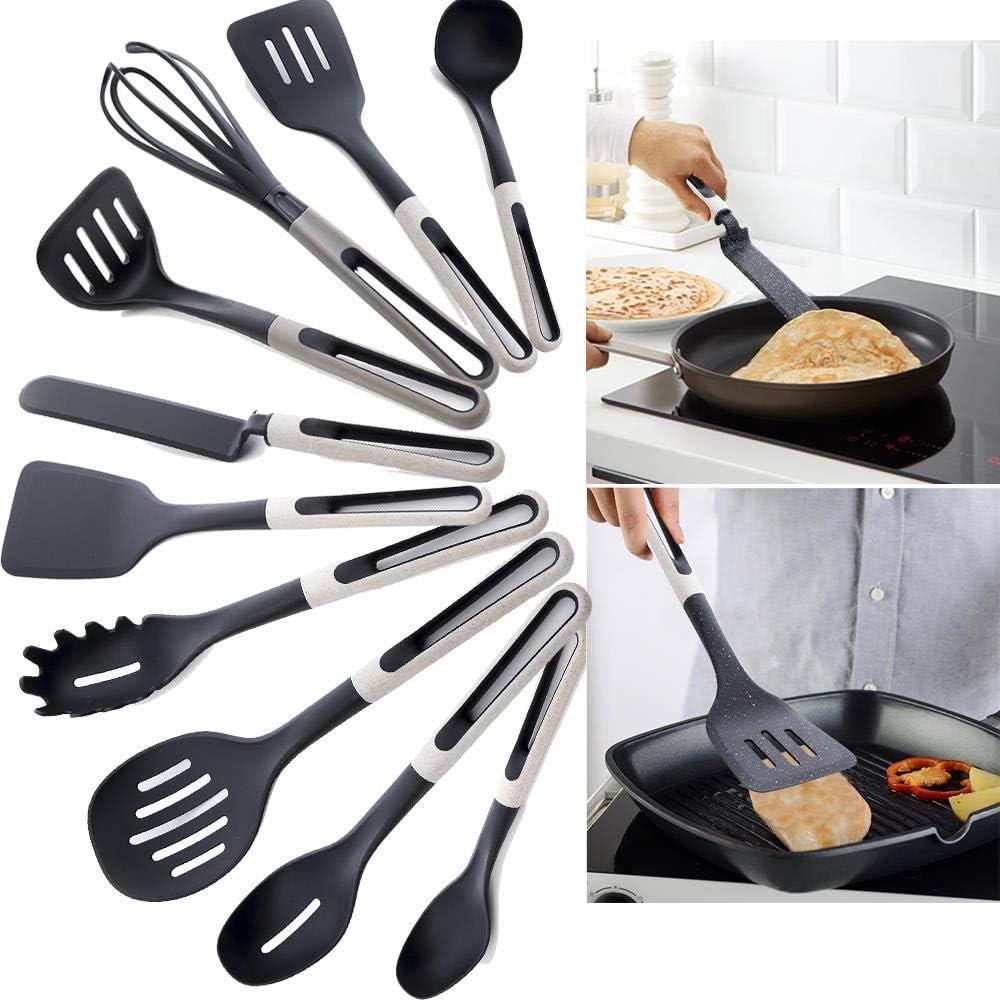 xmwm Silikon Holz Turner Suppe Löffel Spatel Pinsel Schaber Pasta Server Egg Beater Küche Kochwerkzeuge Küchengeschirr Schwarz, T16124 T16138