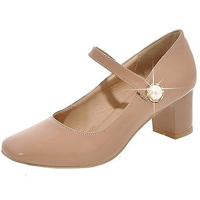 AIYOUMEI Damen Chunky Heel Lack Mary Jane Pumps mit 5cm Absatz und Perlen Bequem Schuhe sJdQJ