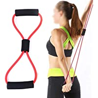 KS HEALTHCARE Resistance 8 Type Muscle Chest Expander Rope Workout Pulling Exerciser Fitness Exercise Tube Sports Yoga for Men and Women - Multi Color