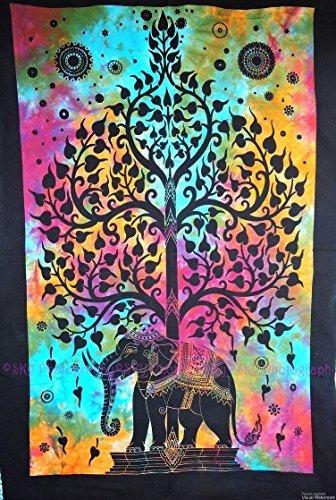 Elephant Art Deco (Indian Wall Decor Hippie Tapestries Bohemian Mandala Tapestry Wall Hanging Throw Elephant Tree Tapestry)