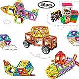 Morcare Magnetic Building Blocks, Magnetic Tiles Construction Building Blocks Kit Creativity Educational Toys Set for Kids Toddler Girl Boy Toy (46pcs)