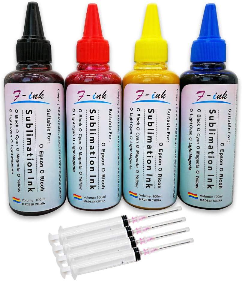 F-INK 4 x 100 ml Tinta de sublimación Compatible para Cartuchos de ...