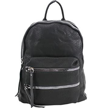 09c41bf547 WOMENS NEW FAUX LEATHER DOUBLE ZIP FRONT POCKET SCHOOL COLLEGE BACKPACK   Amazon.co.uk  Luggage