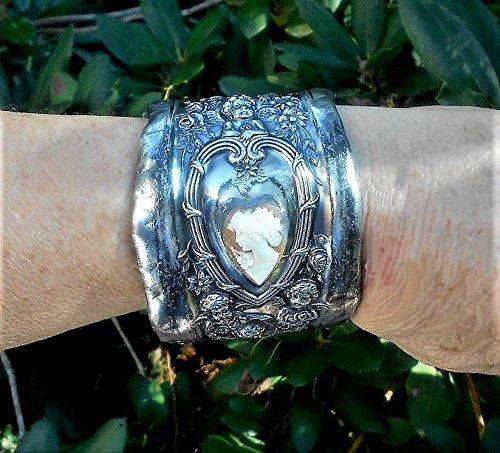 Antique CAMEO 6 CHERUBS Silver Plate Cuff Bracelet, Heart Cameo w/ Flowers Cherubs Playing Violin & Mandolin, Cherubs w/ Wings, Flowers OOAK (Antique Cameo Bracelet)