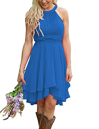 2ca3b6a4795 Faxpox Women s Knee Length Country Bridesmaid Dresses Western Wedding Guest  Dresses Short Maid of Honor Gown Dark Blue US06 at Amazon Women s Clothing  store ...