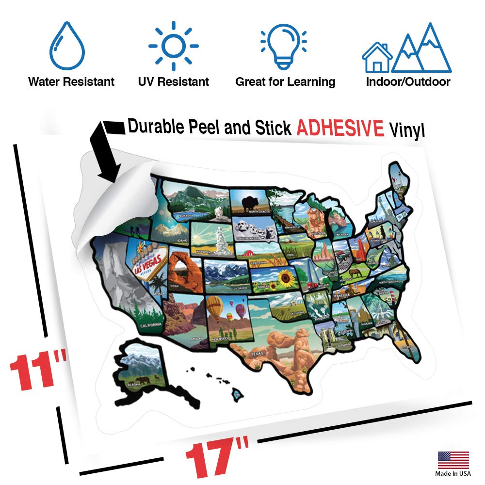 RV State Sticker Travel Map - 11 x 17 - USA States Visited Decal ...