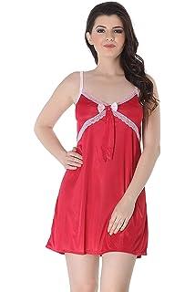 Miss Pixy Women s Solid Maroon Nighty Satin Fashion Sleepwear ... 9d978f93b