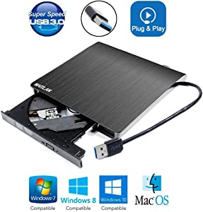 "USB 3.0 External DVD CD ROM Optical Drive, for Acer Nitro 5 7 AN515 Predator Helios 300 500 700 2019 15.6"" Gaming Laptop, Portable Pop-Up 8X DVD-RW DVD-RAM 24X CD-R Player New in Box"