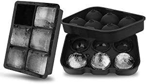 Ice Cube Trays (Set of 2), Silicone Sphere Whiskey Ice Ball Maker with Lids & Large Square Ice Cube Molds for Cocktails & Bourbon - Reusable(black)