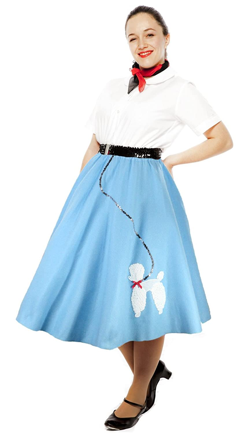 1950s Costumes- Poodle Skirts, Grease, Monroe, Pin Up, I Love Lucy 50s Felt Poodle Skirt in Retro Colors - size Adult Medium / Large by Hey Viv ! $34.50 AT vintagedancer.com