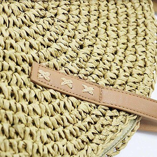 AFfeco Women 2 Shoulder Bags Summer Capacity Handbags Big Beach Casual Straw Round wUwBTqZF