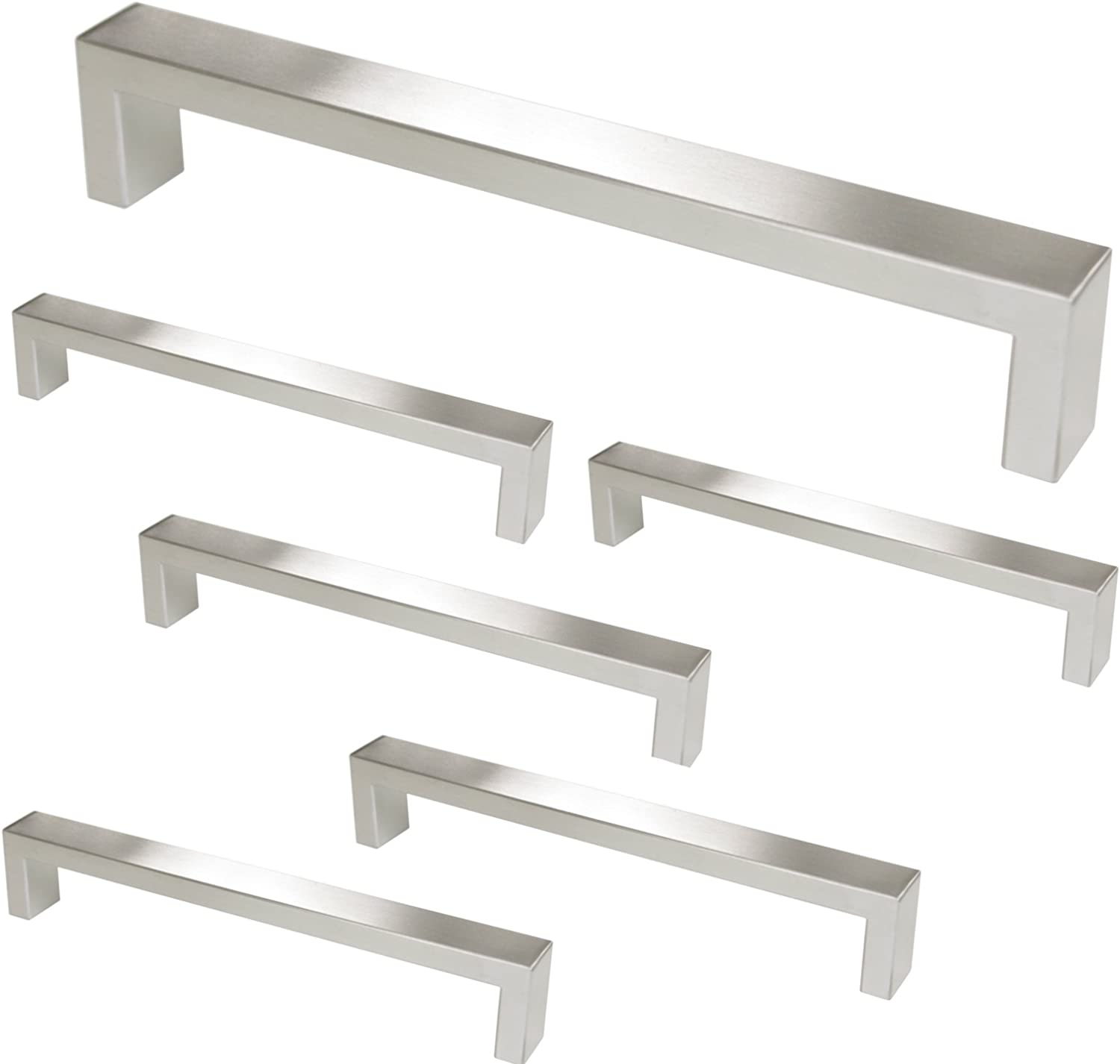 """Gobrico 10 Pack Single Hole Stainless Steel Square Bar Door Pulls Drawer Knob Satin Nickel,2/"""" Overall Length,10mm Wide"""