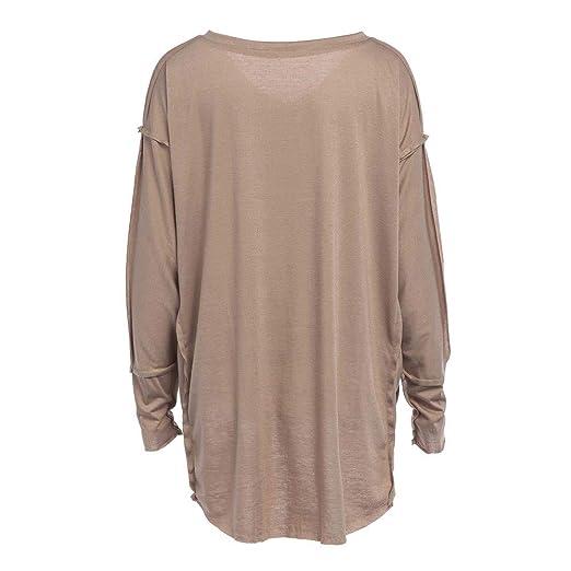 Camisa de Mujer, Manadlian Casual Algodón Elegante Manga Larga Tops Blusa Moda Suelto Camiseta de Mujer: Amazon.es: Ropa y accesorios
