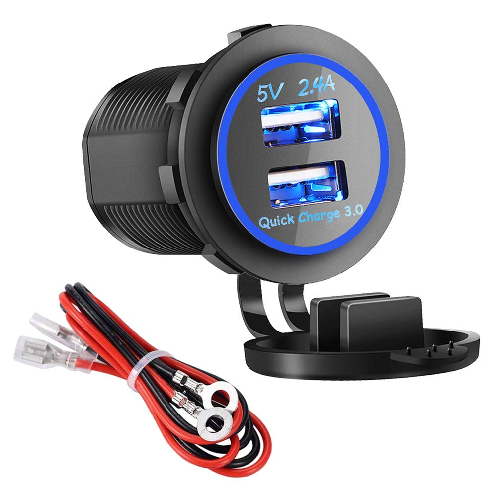 Dual USB Charger Socket Power Outlet - Quick Charge 3.0 & 2.4A Port for Car Boat Marine Rv Mobile with Wire Fuse DIY Kit (QC 3.0 - Blue) by soyond