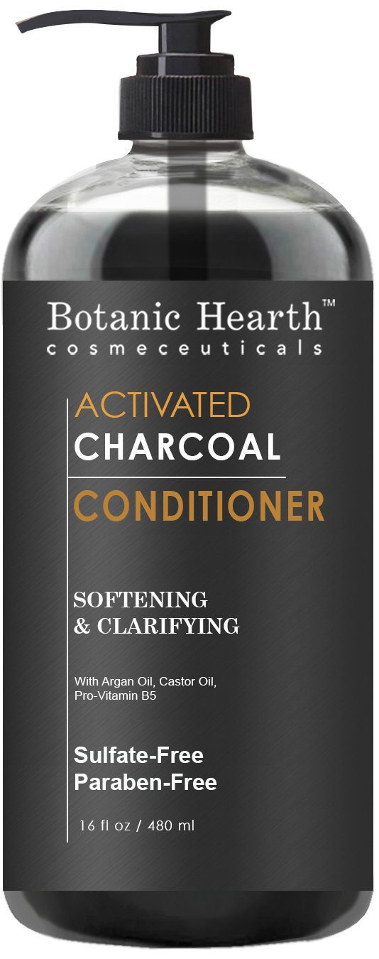 Botanic Hearth Charcoal Hair Conditioner, Sulfate Free, Paraben Free, For Men and Women, Softening and Clarifying, 16 fl oz