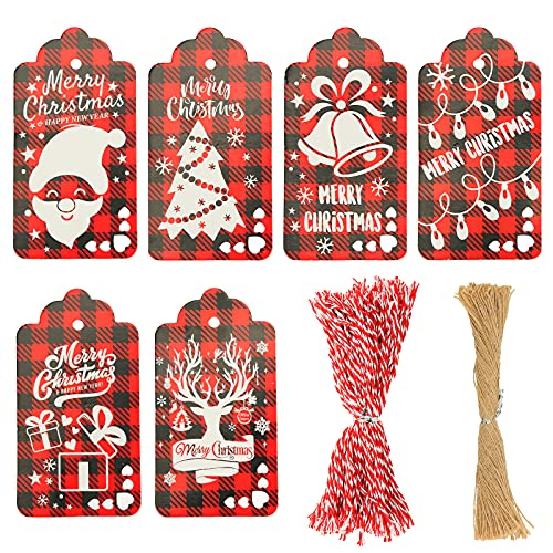 Koogel 180 Pcs Christmas Tags, Christmas Checked Gift Tags Christmas Gift Tags Xmas Paper Tags for DIY Christmas Holiday Gift Wrapping Stamp Label Packaging Business Card