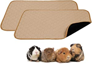 Guinea Pig Fleece Cage Liners - 2 Pack Washable Guinea Pig Pee Pads, Waterproof Reusable & Anti Slip Guinea Pig Bedding Fast Absorbent Pee Pad for Small Animals (24