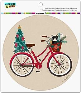 Christmas Bicycle Bike and Cat in Basket Automotive Car Refrigerator Locker Vinyl Circle Magnet