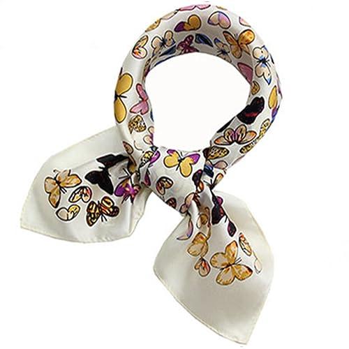 Helan Mujeres Seda natural real 53cm X 53cm pañuelos de seda cuadrados mariposas