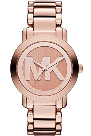 Michael Kors MK3207 Rose Gold Stainless Steel MK Logo Runway Womens Watch