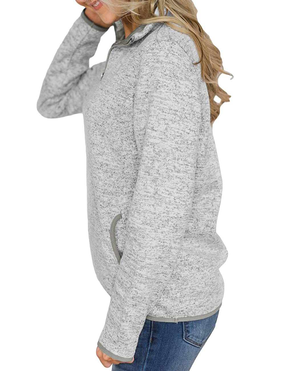 CILKOO Women Quarter Zip Color Block Pullover Sweatshirt Tops with Pockets S-XXL
