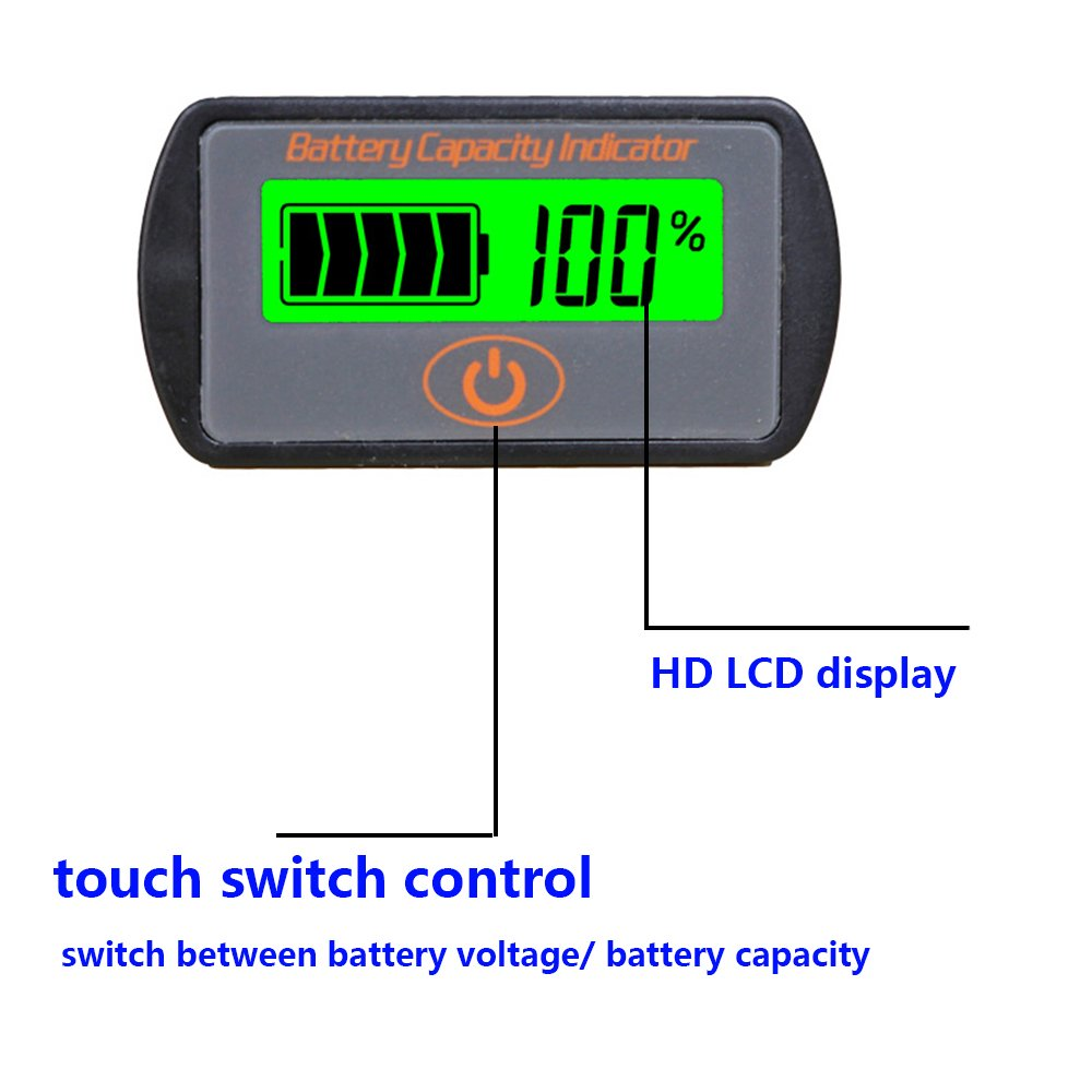 Cptdcl Touch Control Button Multifunction 12v Lead Acid Battery Voltage Indicator Capacity Tester Lcd Power Meter Voltmeter Automotive