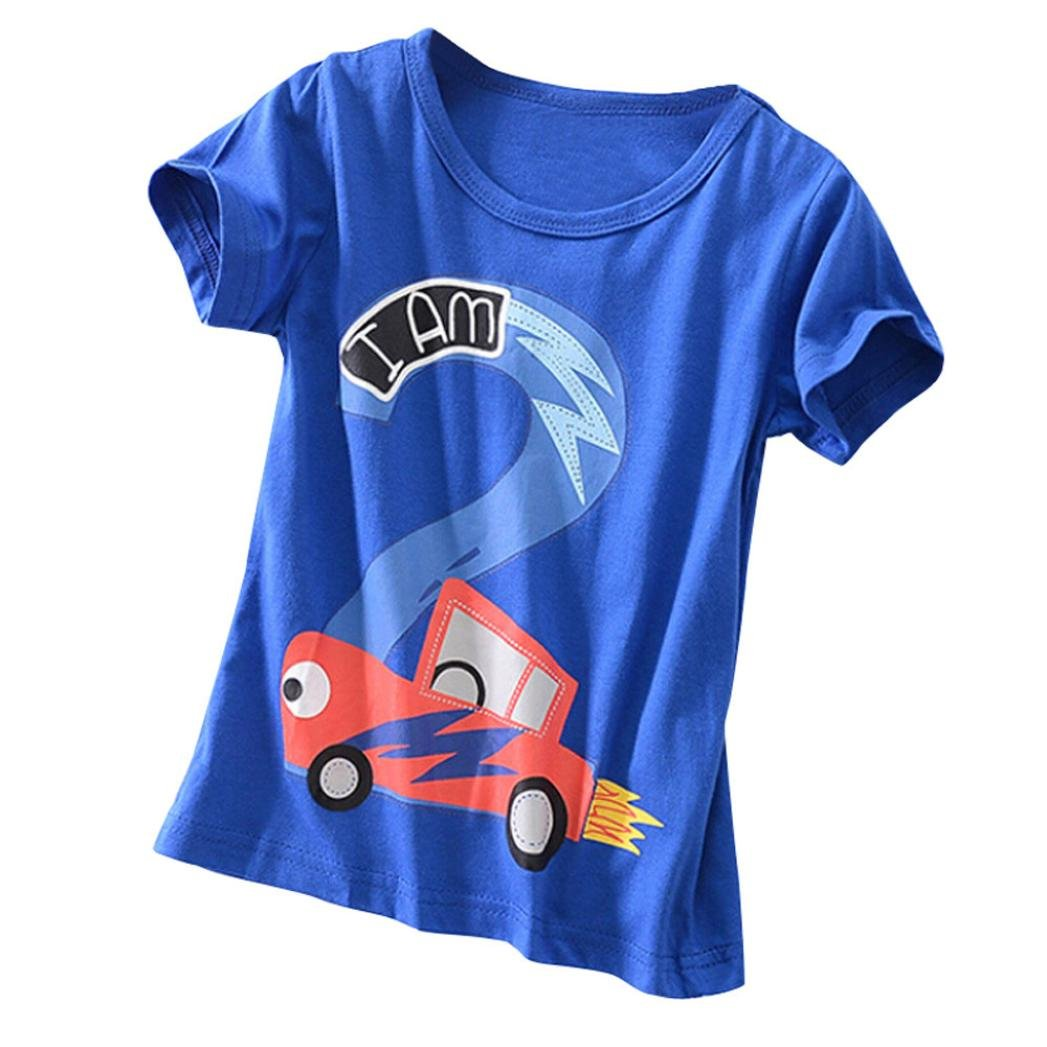 Jchen TM Boys Cartoon Car Number Two Print Tops Summer Toddler Kids Baby Boys Girls Short Sleeve Tee T-Shirt Blouse For 2-6 T