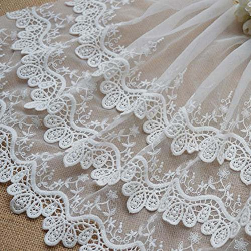 Ivory 2 Yards 11 7/8 inches Three Layers Cotton Embroidered Lace Trim Fabric Scrapbooking Costumes Supplies