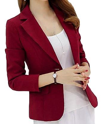 security Chaqueta de Traje - para Mujer Rojo Rojo Vino M: Amazon ...