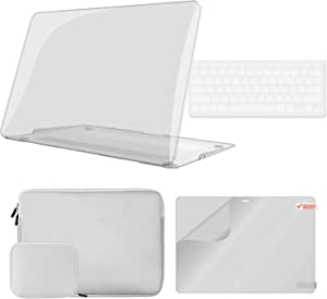 iCasso MacBook Pro 13 inch Case A1425/A1502 Bundle 4 in 1, Plastic Hard Shell Case, Sleeve, Screen Protector, Keyboard Cover and Small Pouch Compatible 2012-2015 Release MacBook Pro 13'' - Clear