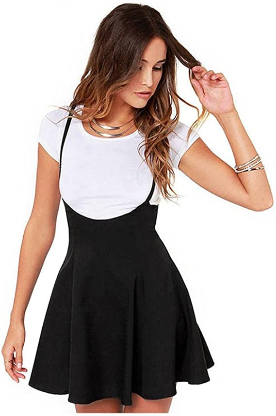 Overdose Falda Negra de Las Mujeres de Moda con Las Correas de Hombro Vestido Plisado Onda Viva Linda: Amazon.es: Ropa y accesorios