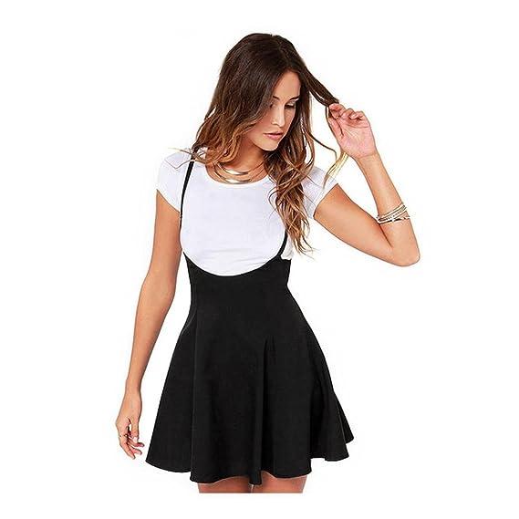 Overdose Falda Negra de Las Mujeres de Moda con Las Correas de Hombro Vestido Plisado Onda