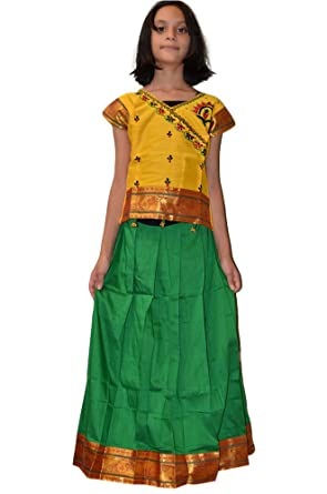 e0377205f56 Amazon.com: Bright Festive Cotton Silk Kids Pattu Pavadai Dress: Clothing