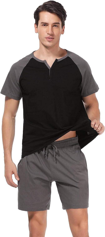 Abollria Pijamas Hombre Verano de Algod/ón Ropa de Dormir a Raya de Dos Piezas con Manga Corta para Hombre