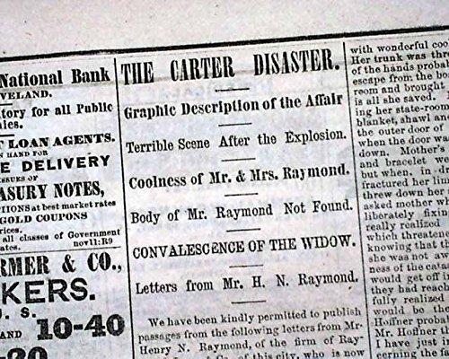STEAMER W. R. CARTER Mississippi River Vicksburg MS DISASTER 1866 Old Newspaper CLEVELAND DAILY LEADER, Ohio, February 24, 1866