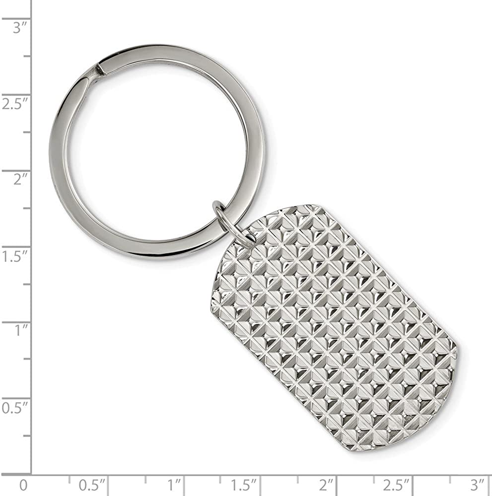 Stainless Steel Polished Textured Key Chain Mens Double Sided Key Rings Accessory