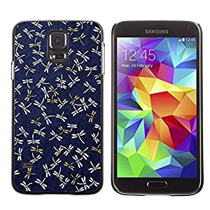 Design for Girls Plastic Cover Case FOR Samsung Galaxy S5 Dragonfly Navy Blue Pattern Gold Spring OBBA