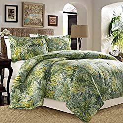 Tommy Bahama Cuba Cabana 4 Pieces Full Queen Comforter Set - Tropical Palm Leaf Design