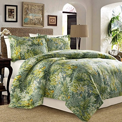 Tommy Bahama Cuba Cabana 4 Pieces Full Queen Comforter Set - Tropical Palm Leaf Design ()