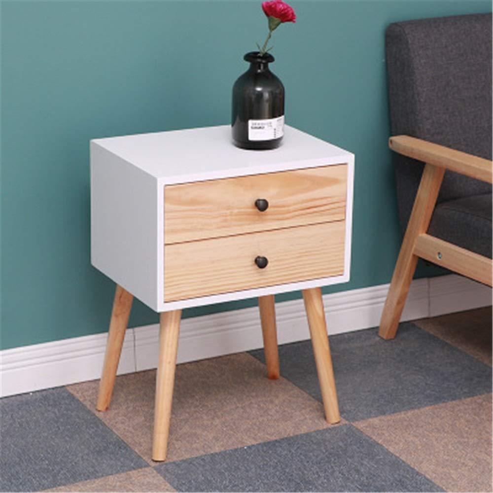 Liuxiaomiao Nachttisch Nachttisch Schlafzimmer Beistelltisch Wohnzimmer Nachttisch Couchtisch mit 2 Schubladen für Schlafzimmer Möbel, Holz, Holzfarben Weiß, Einheitsgröße
