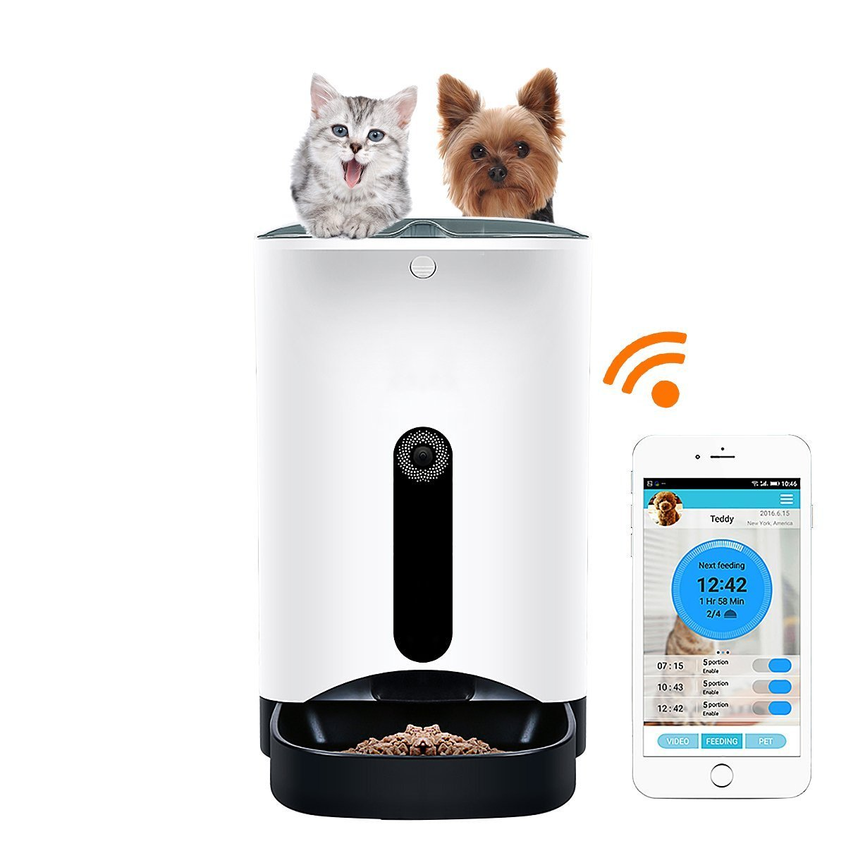 QTMY Large Wifi Remote Control Pet Smart Automatic Feeder with Camera Timer Food Dispenser for Dogs & Cats, Controlled by Smart Phone Devices by QTMY