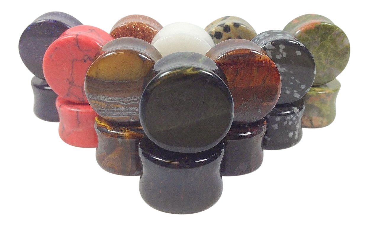 -ALL 10 PAIR- Stone Plugs Organic Double Flare Ear Gauges Body Jewelry (lot 2) (19mm (3/4''))