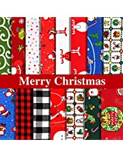 30 Pieces Christmas Fat Quarters Cotton Fabric Christmas Fabric Quilting Fabric Squares Precut Fabric Bundles for DIY Craft Christmas Party Supplies, 10 x 10 Inch, 15 Kinds of Christmas Patterns