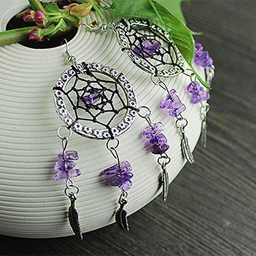 Handmade Fashion Beads Amethyst DIY Earrings Tassel Dreamcatcher Silver