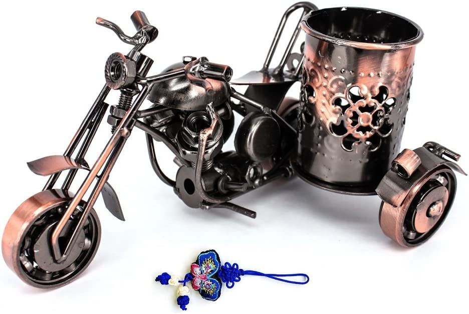 ZHAMS Handmade Crafts,Creative office desktop accessories,Harley Davidson metal pen holder,M08