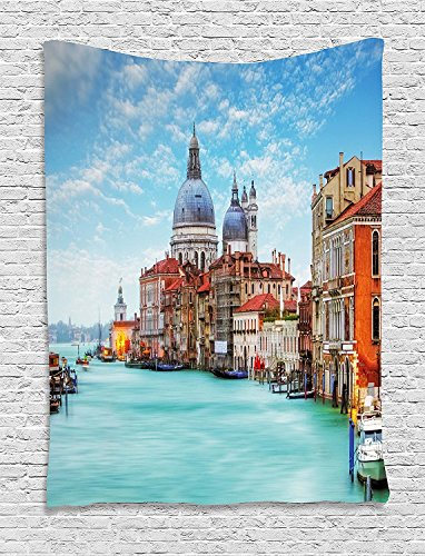 Italy Tapestry, Grand Canal and Basilica Santa Maria della Salute Historical Architecture, Wall Hanging for Bedroom Living Room Dorm, 60 W X 80 L Inches, Blue Turquoise Orange